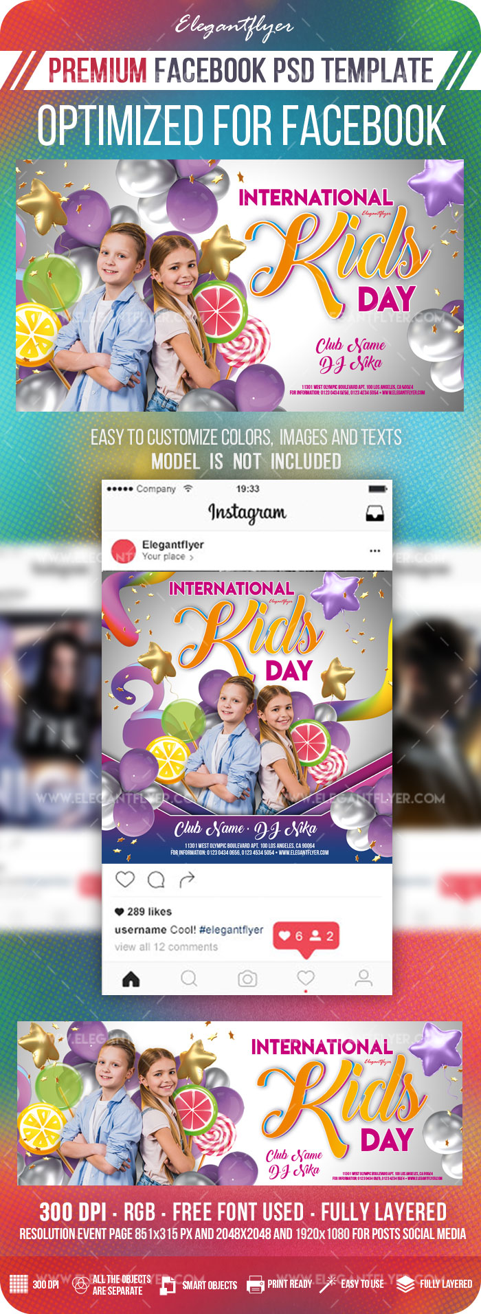 International Kids Day Invitation – Facebook Cover Template in PSD + Post + Event cover