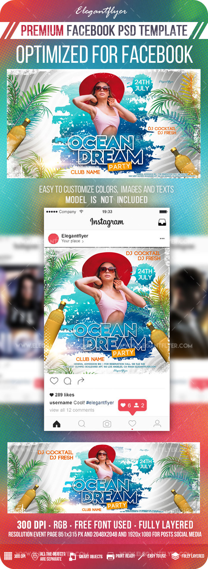 Ocean Dream – Facebook Cover Template in PSD + Post + Event cover