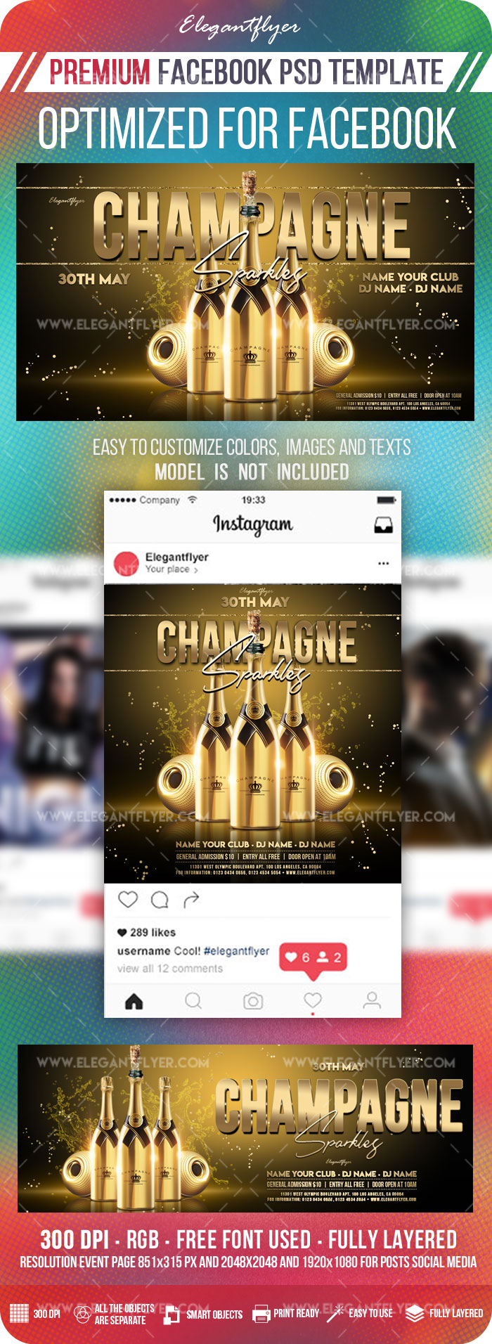 Champagne Sparkles – Facebook Cover Template in PSD + Post + Event cover