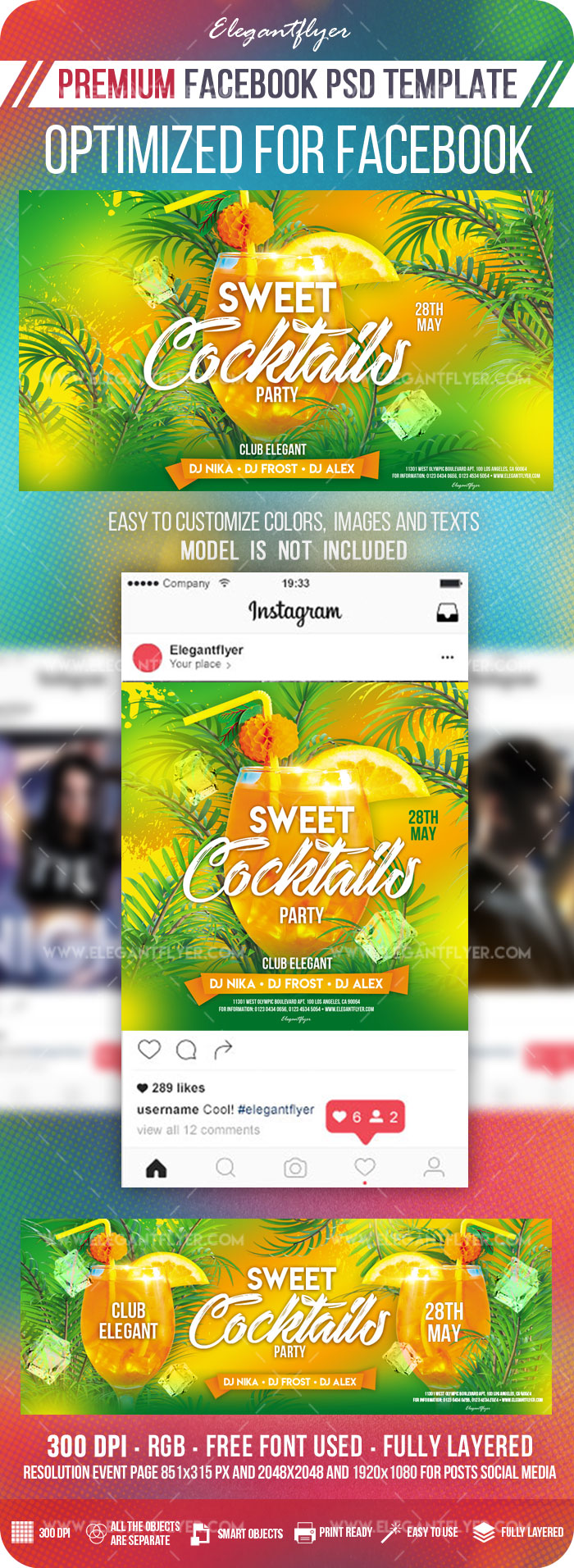 Sweet Cocktails Party – Facebook Cover Template in PSD + Post + Event cover