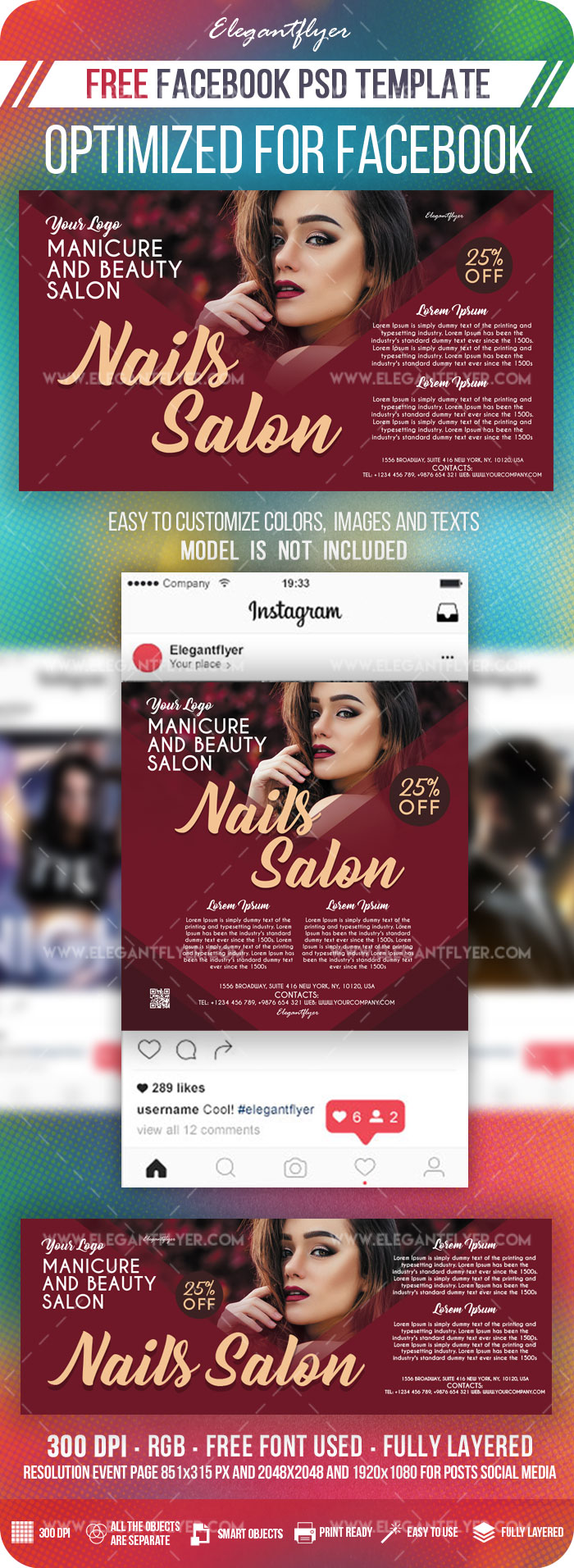 Nails Salon – Free Facebook Cover Template in PSD + Post + Event cover