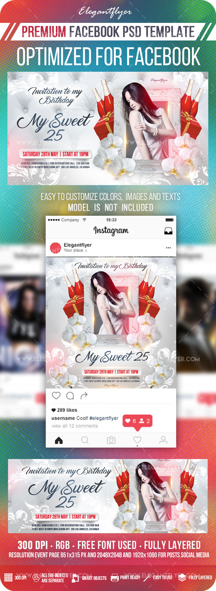 My Sweet 25 – Facebook Cover Template in PSD + Post + Event cover