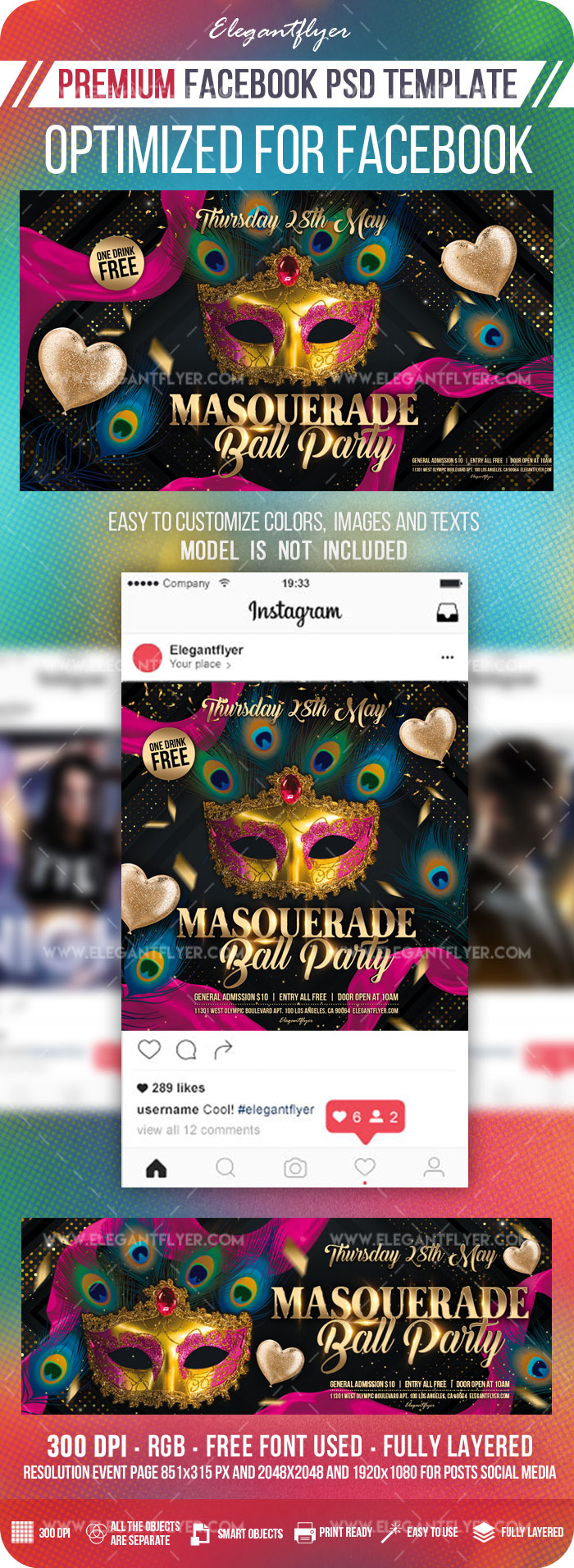 Masquerade Ball Party – Facebook Cover Template in PSD + Post + Event cover