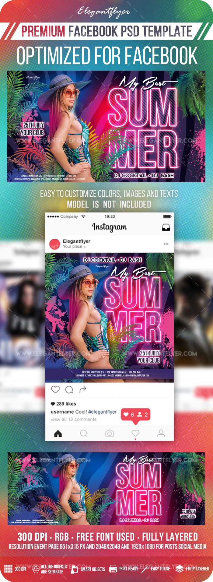 My Best Summer – Facebook Cover Template in PSD + Post + Event cover