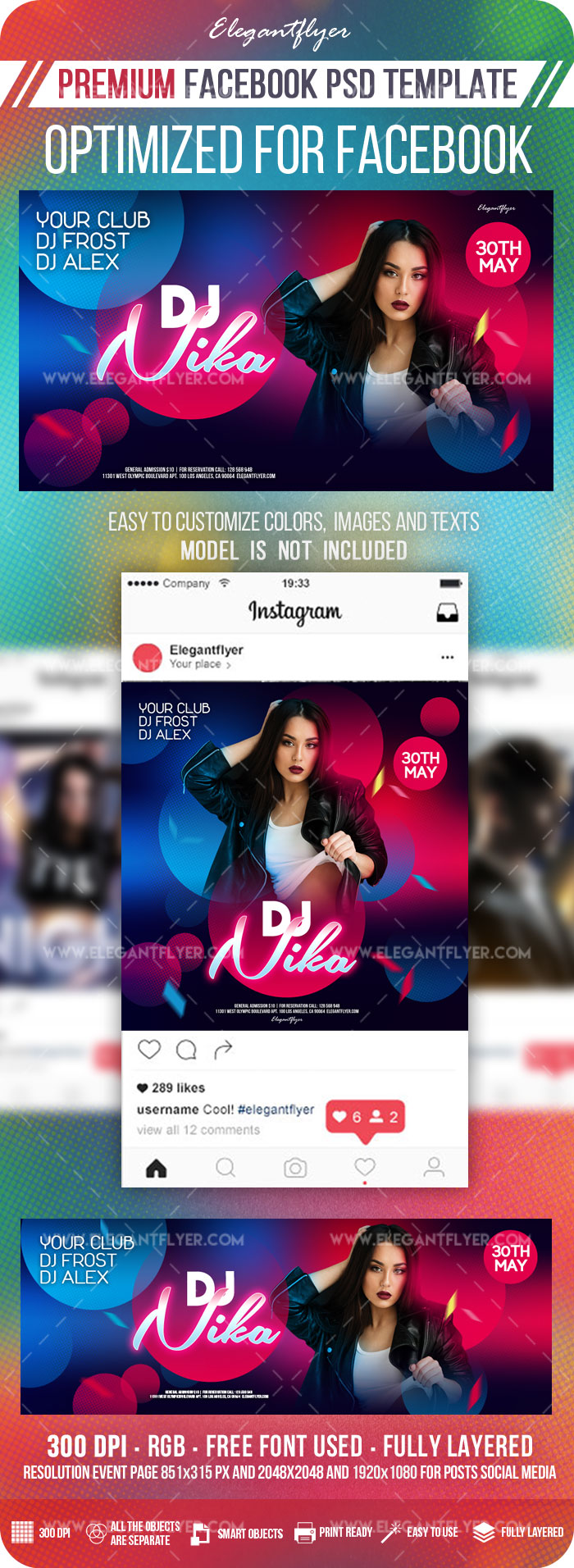 Special DJ Party – Facebook Cover Template in PSD + Post + Event cover