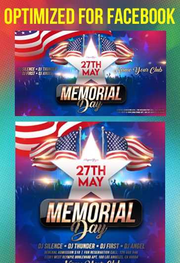 Memorial Day Events – Facebook Cover Template in PSD + Post + Event cover