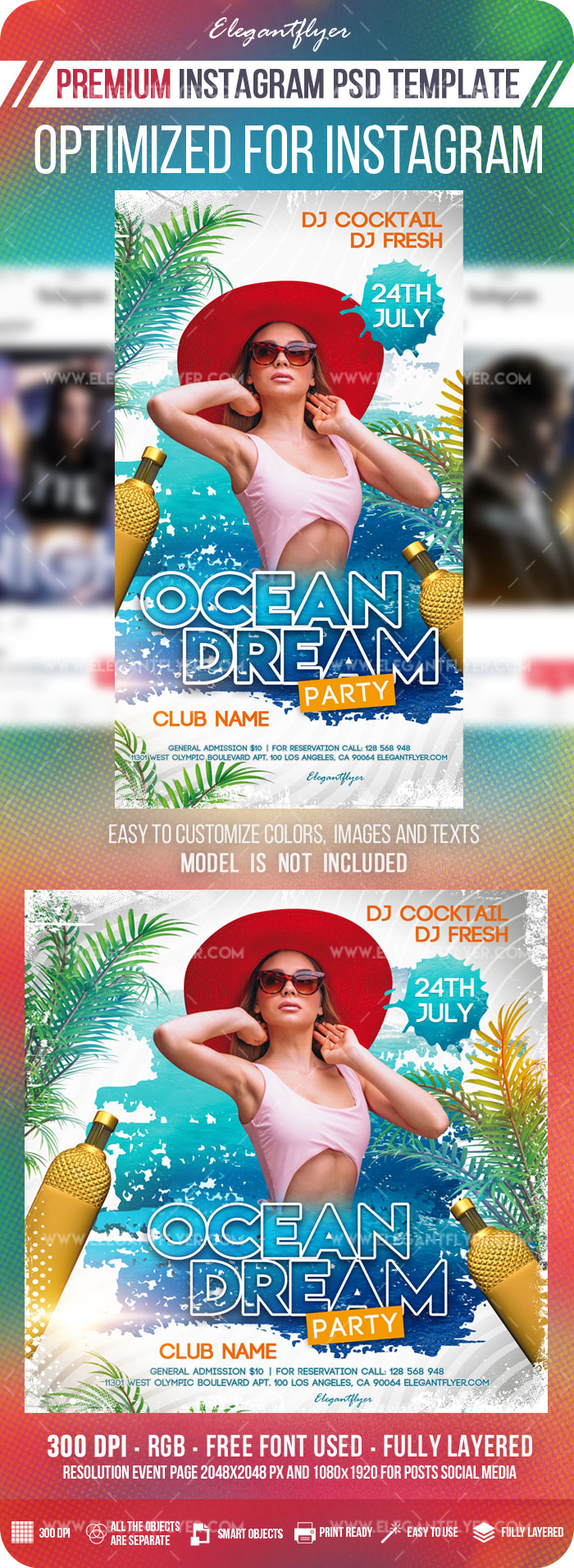 Ocean Dream – Instagram Stories Template in PSD + Post Templates