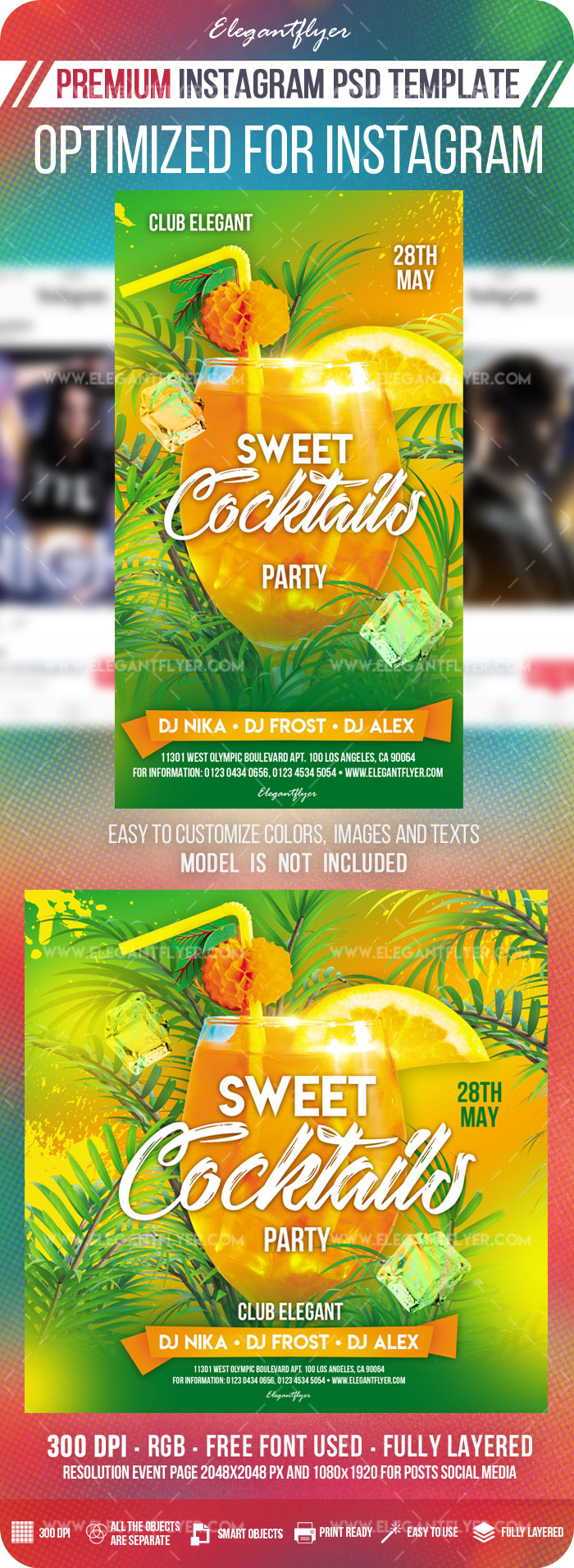 Sweet Cocktails Party – Instagram Stories Template in PSD + Post Templates