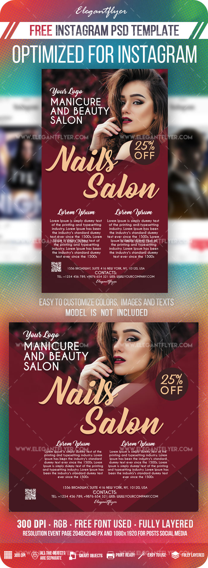 Nails Salon – Free Instagram Stories Template in PSD + Post Templates