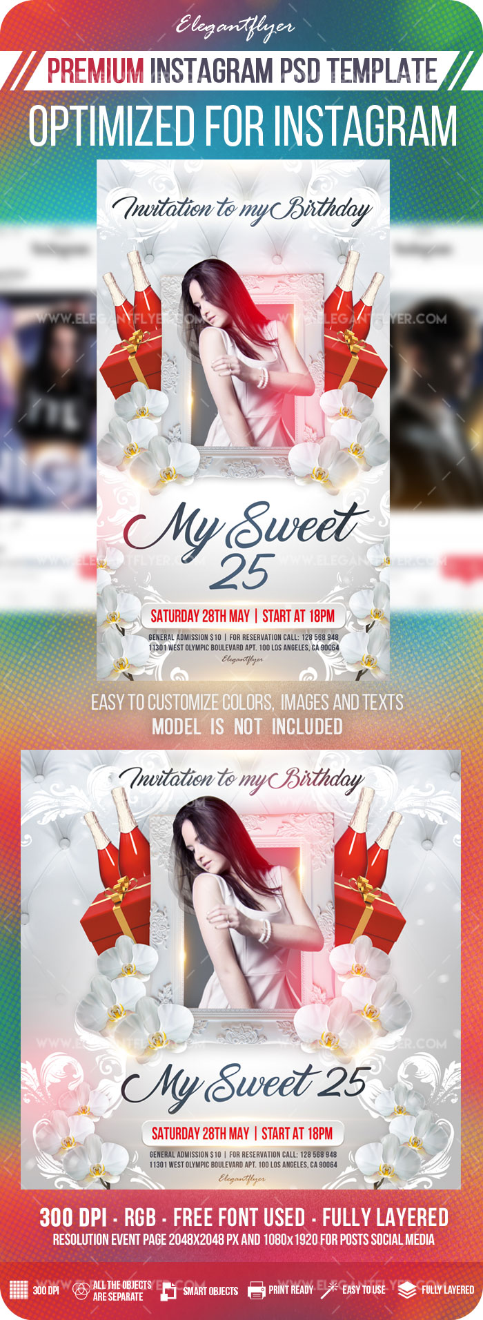 My Sweet 25 – Instagram Stories Template in PSD + Post Templates
