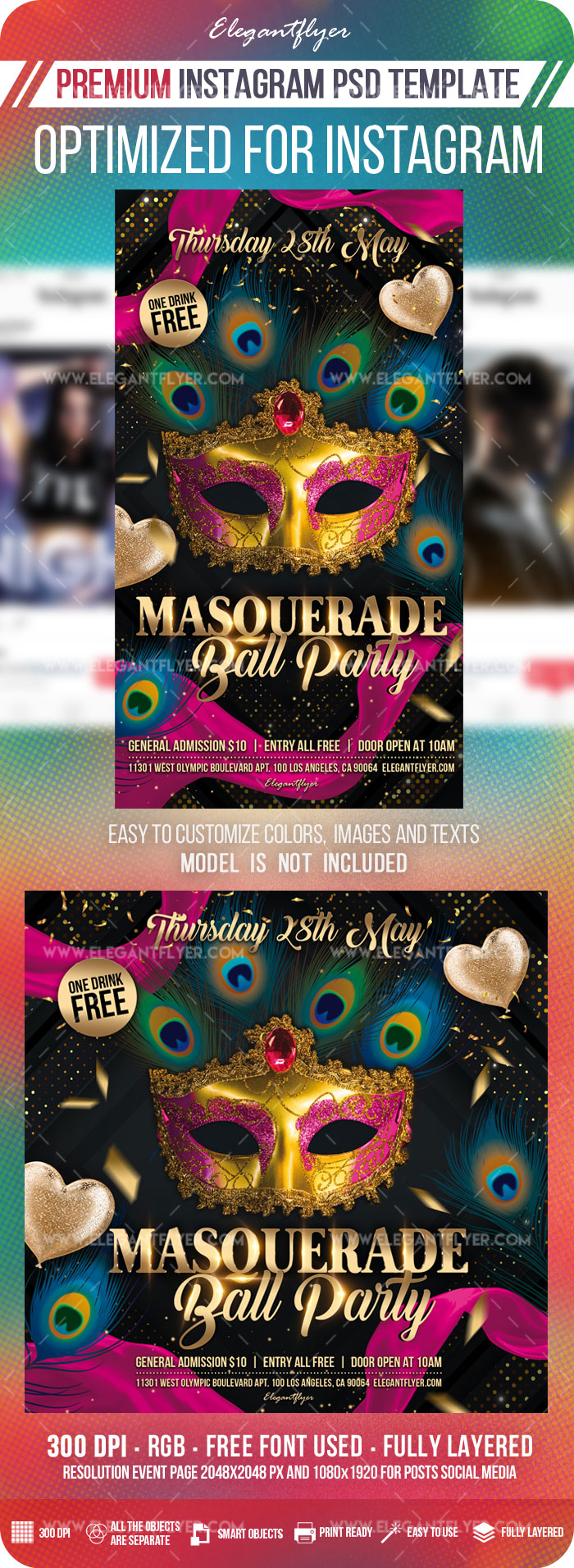 Masquerade Ball Party – Instagram Stories Template in PSD + Post Templates