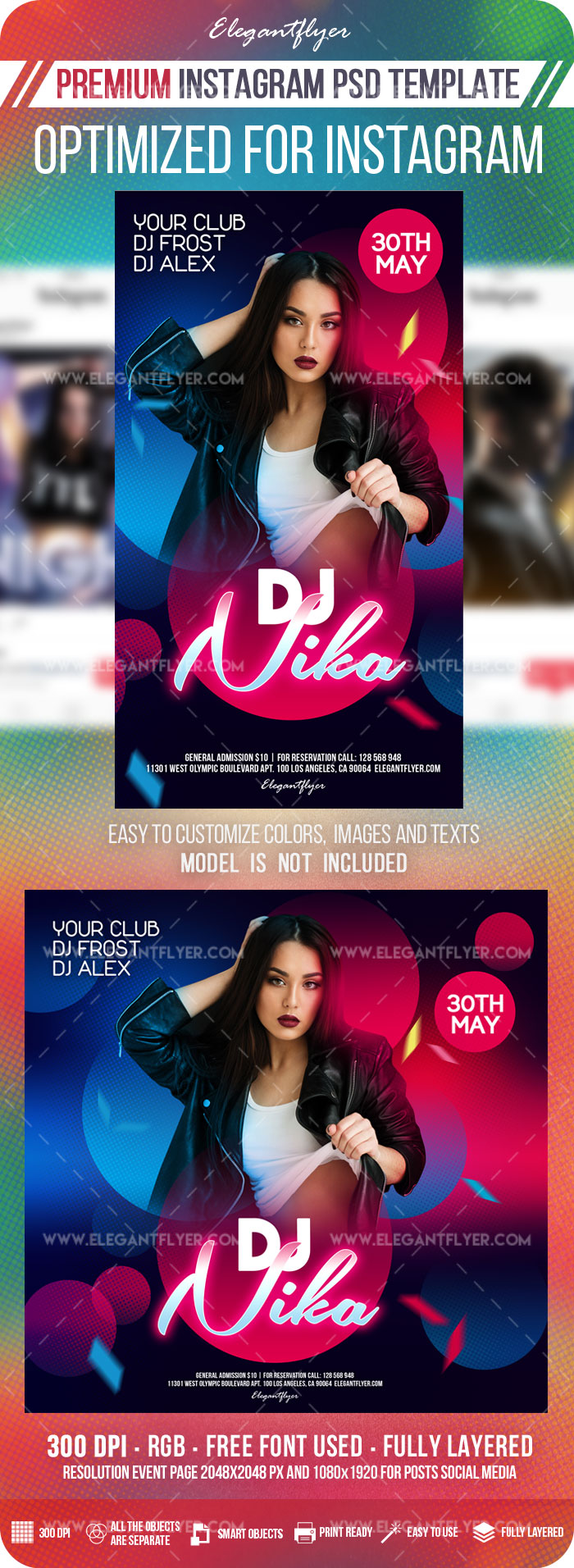 Special DJ Party – Instagram Stories Template in PSD + Post Templates