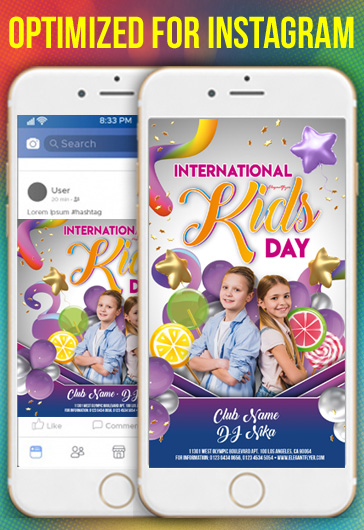 International Kids Day Invitation – Instagram Stories Template in PSD + Post Templates