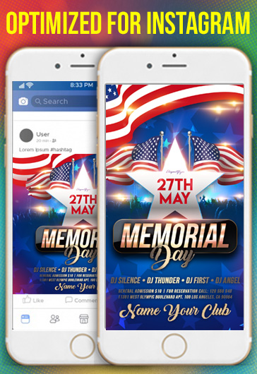 Memorial Day Events – Instagram Stories Template in PSD + Post Templates