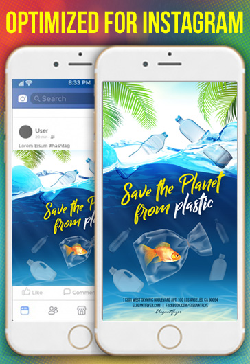 Save The Planet from Plastic – Free Instagram Stories Template in PSD + Post Templates