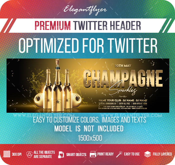 Champagne Sparkles – Twitter Header PSD Template
