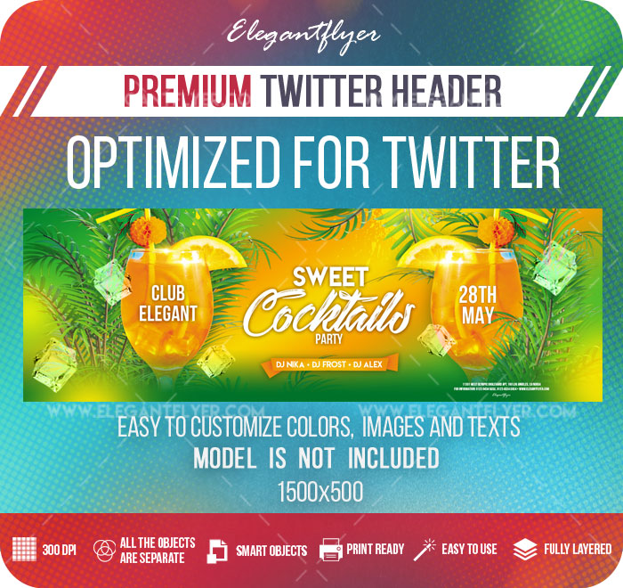 Sweet Cocktails Party – Twitter Header PSD Template