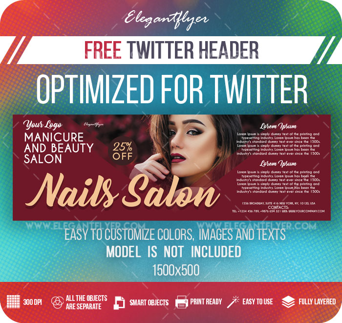 Nails Salon – Free Twitter Header PSD Template