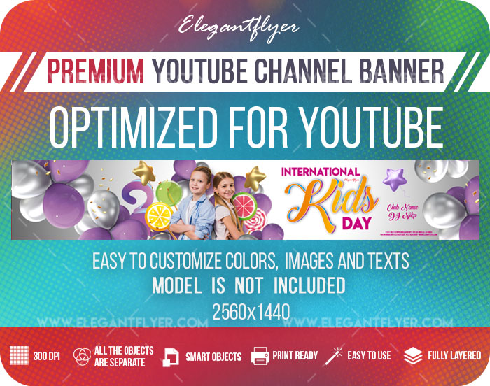 International Kids Day Invitation – Youtube Channel banner PSD Template