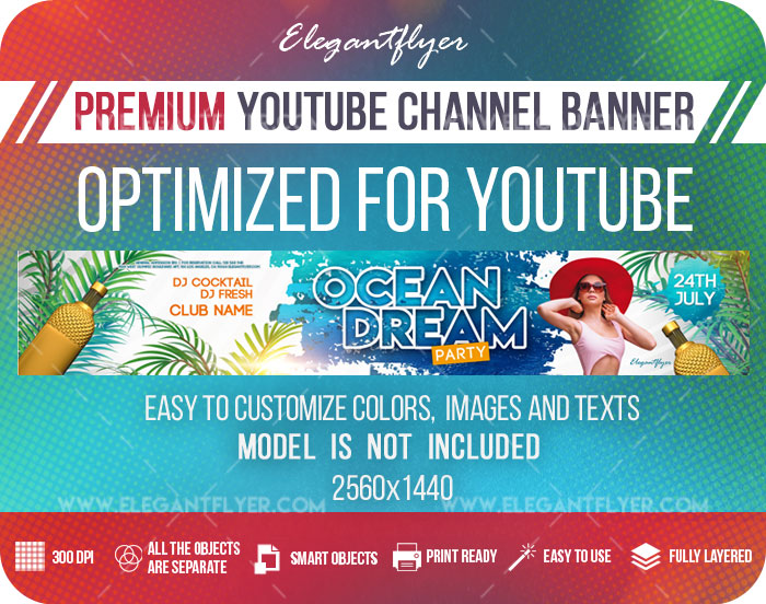 Ocean Dream – Youtube Channel banner PSD Template