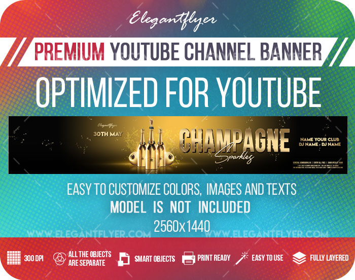 Champagne Sparkles – Youtube Channel banner PSD Template