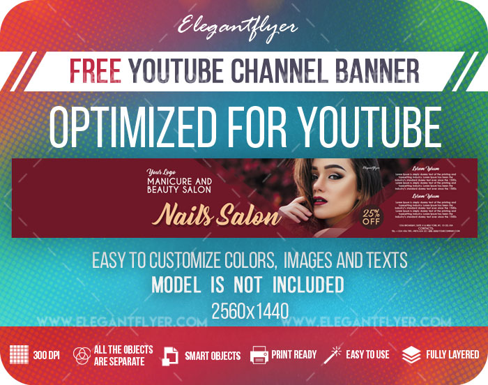 Nails Salon – Free Youtube Channel banner PSD Template