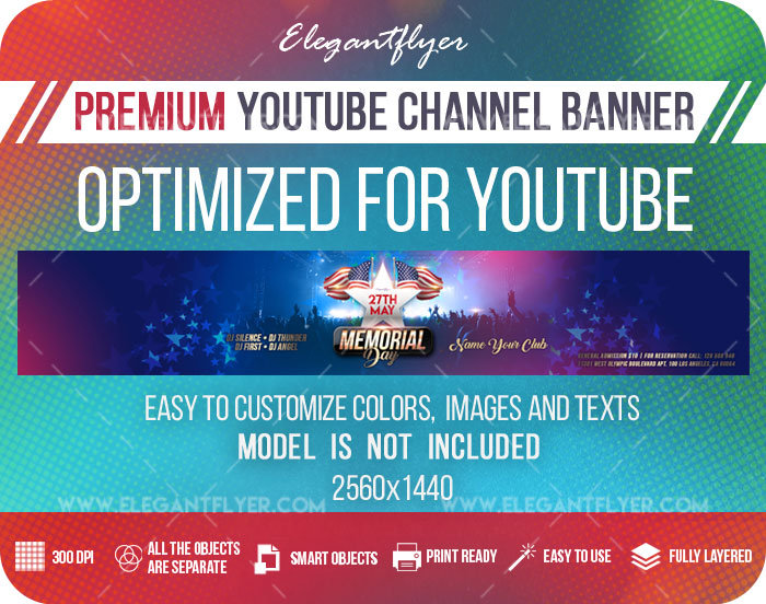 Memorial Day Events – Youtube Channel banner PSD Template