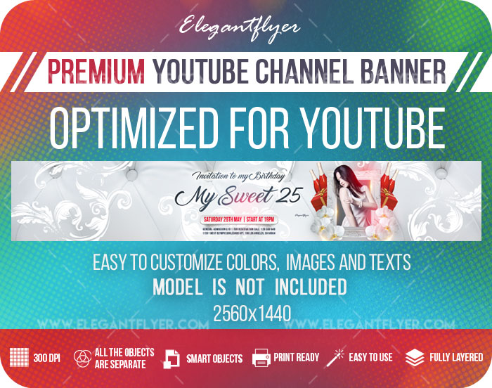 My Sweet 25 – Youtube Channel banner PSD Template