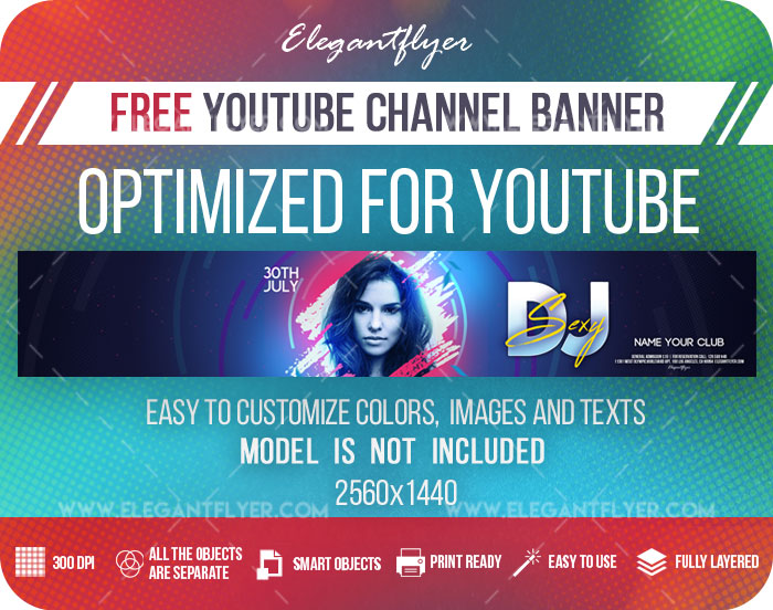 Sexy DJ – Free Youtube Channel banner PSD Template