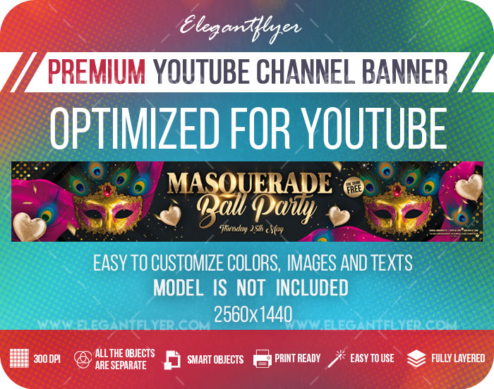 Masquerade Ball Party – Youtube Channel banner PSD Template