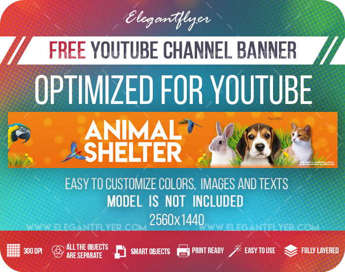 Animal Shelter – Youtube Channel banner PSD Template