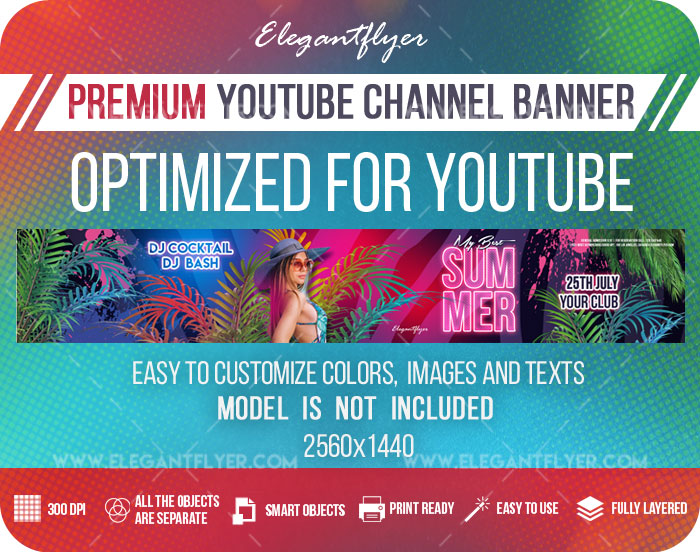 My Best Summer – Youtube Channel banner PSD Template