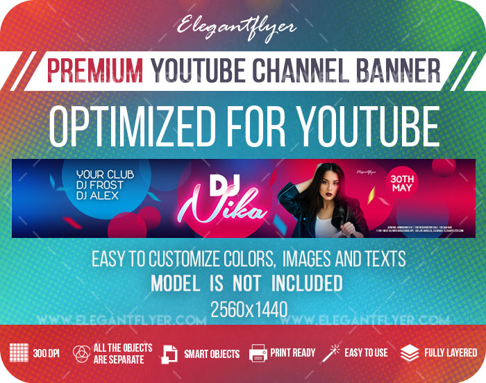 Special DJ Party – Youtube Channel banner PSD Template