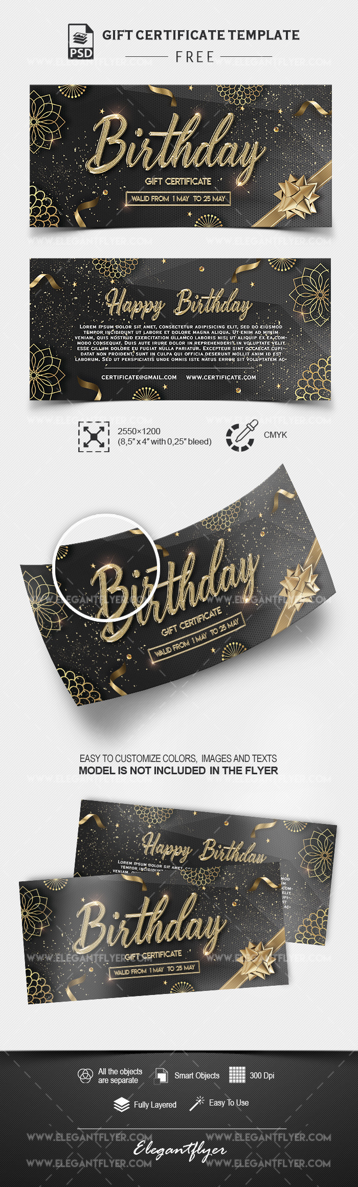 Birthday Gift Certificate – Free PSD Template