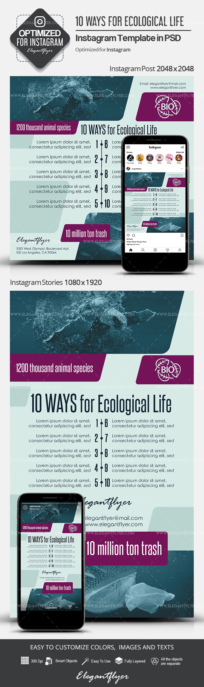 10 Ways for Ecological Life – Instagram Stories Template in PSD + Post Templates