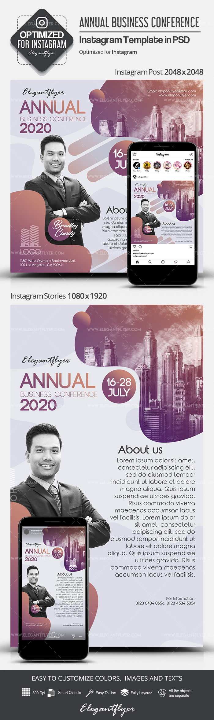 Annual Business Conference – Instagram Stories Template in PSD + Post Templates