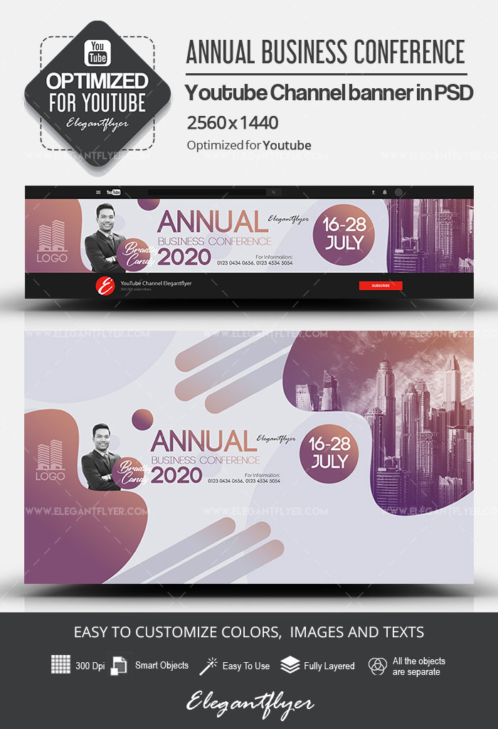 Annual Business Conference – Youtube Channel banner PSD Template