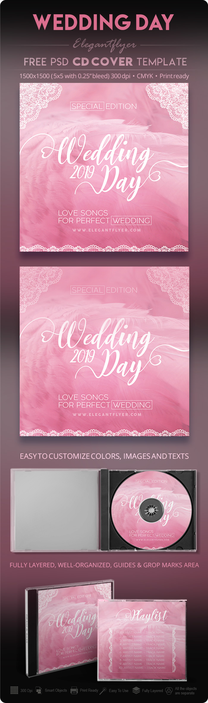 Wedding Day – Free PSD CD Cover Template