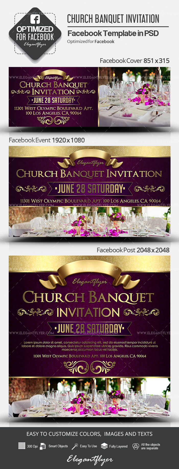 Church Banquet Invitation – Facebook Cover Template in PSD + Post + Event cover