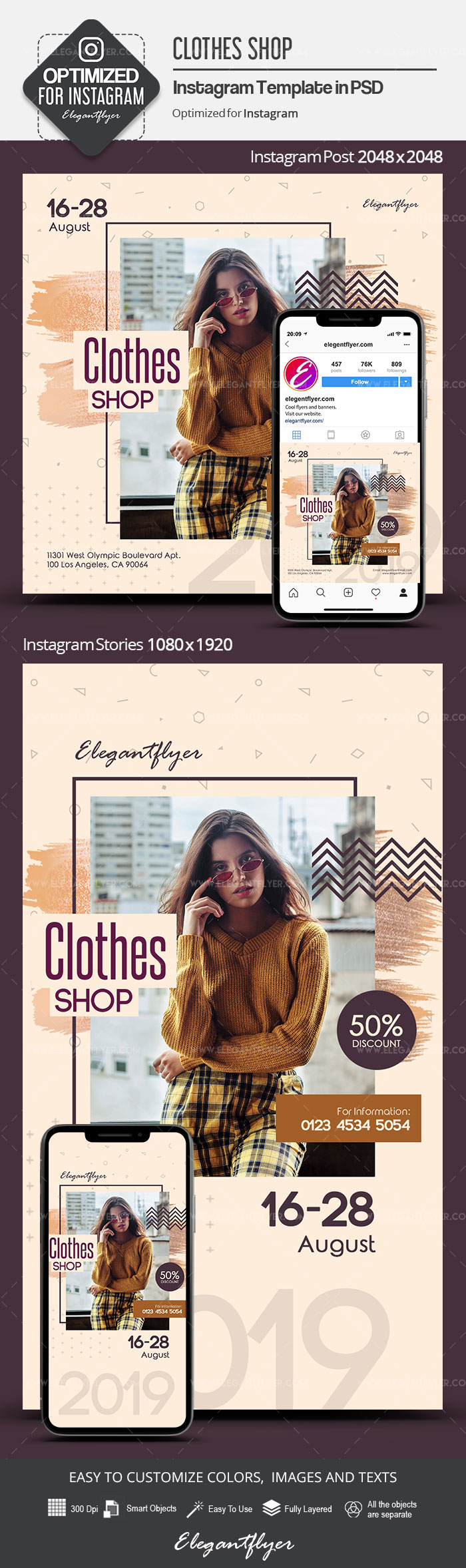 Clothes Shop – Instagram Stories Template in PSD + Post Templates