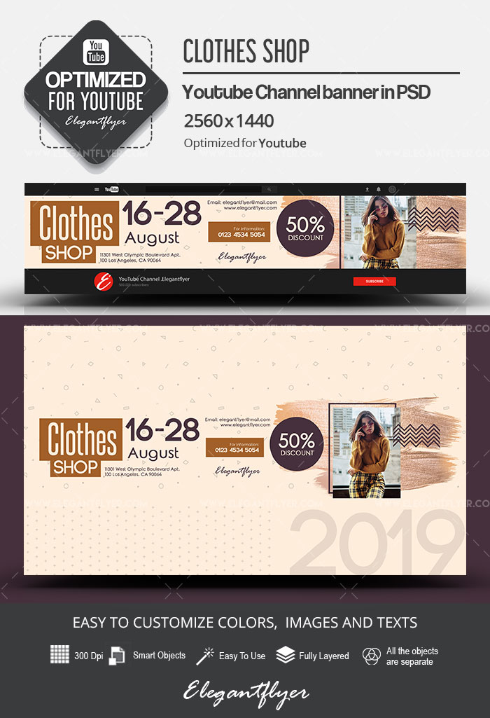 Clothes Shop – Youtube Channel banner PSD Template