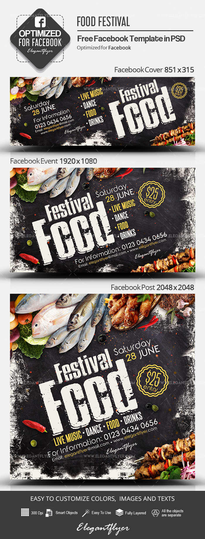 Food Festival – Free Facebook Cover Template in PSD + Post + Event cover