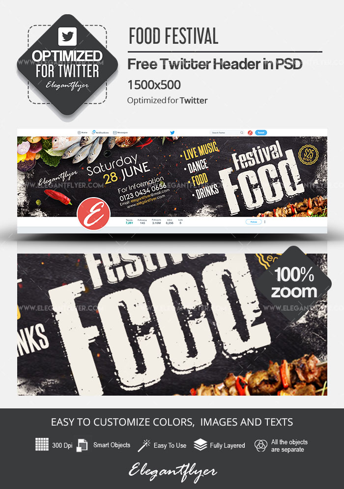 Food Festival – Free Twitter Header PSD Template