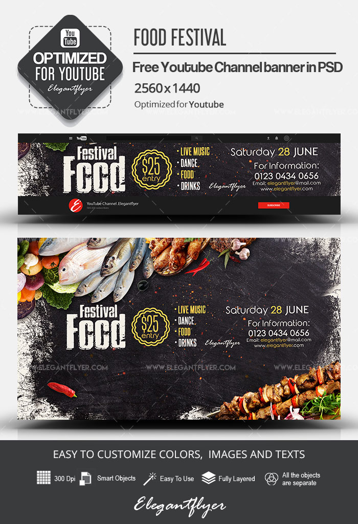 Food Festival – Free Youtube Channel banner PSD Template