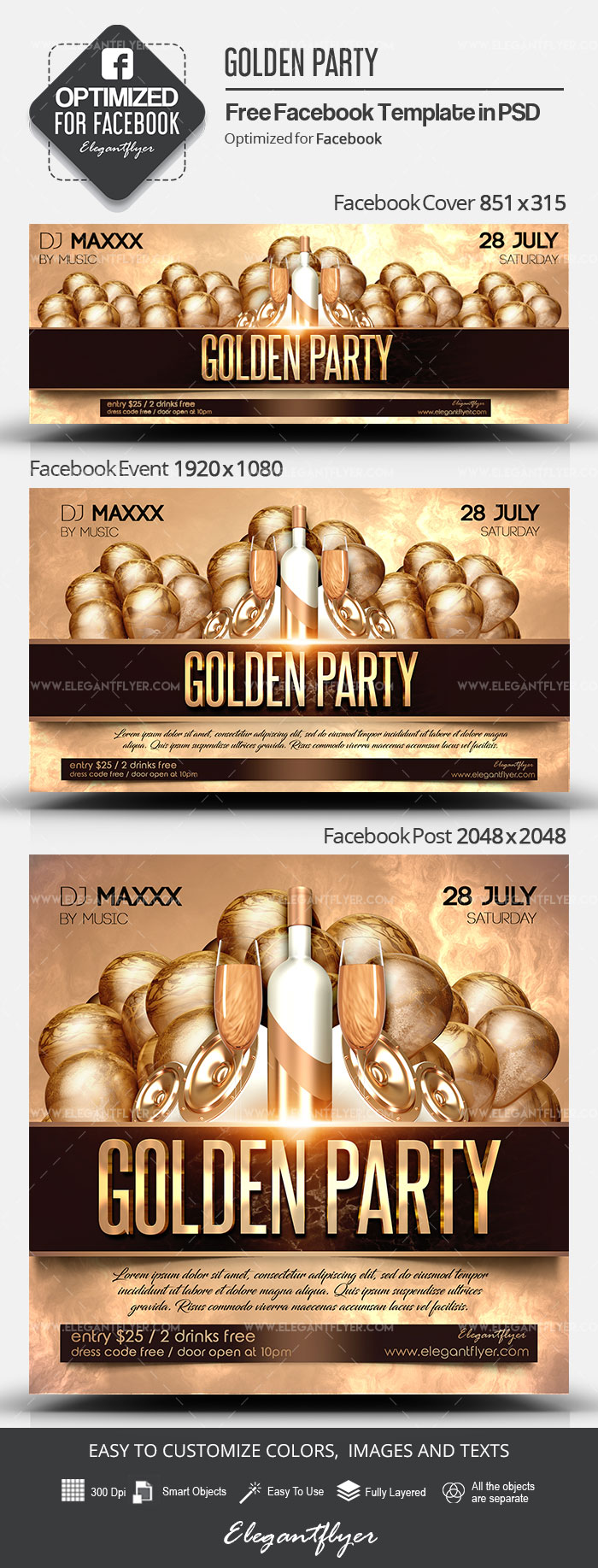 Golden Party – Free Facebook Cover Template in PSD + Post + Event cover