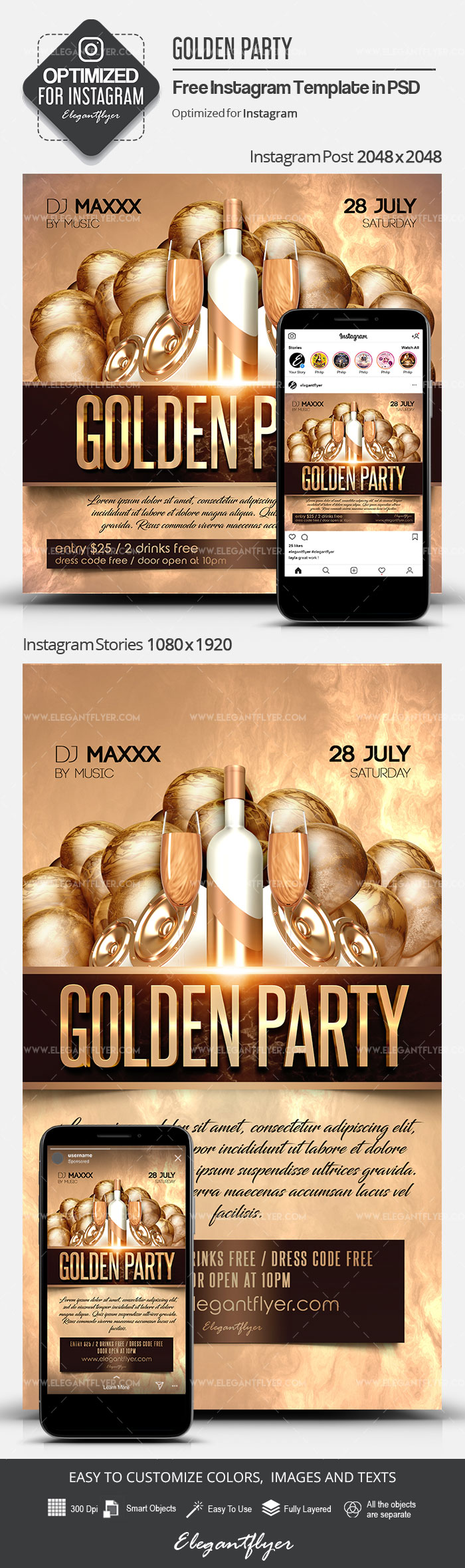 Golden Party – Free Instagram Stories Template in PSD + Post Templates