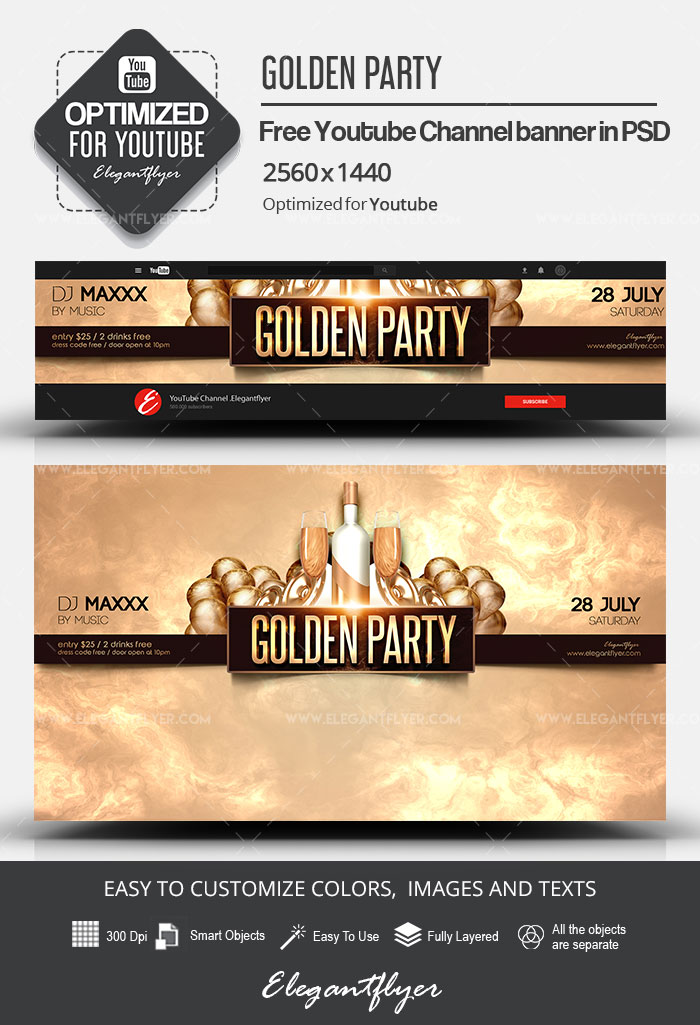 Golden Party – Free Youtube Channel banner PSD Template