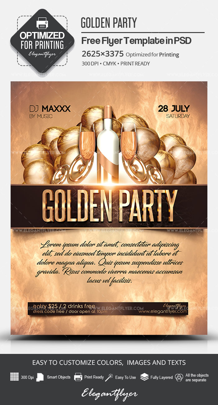 Golden Party – Free PSD Flyer Template