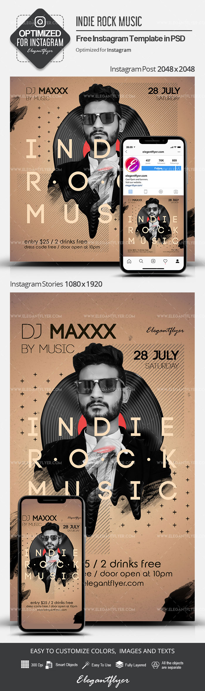 Indie Rock Music – Free Instagram Stories Template in PSD + Post Templates
