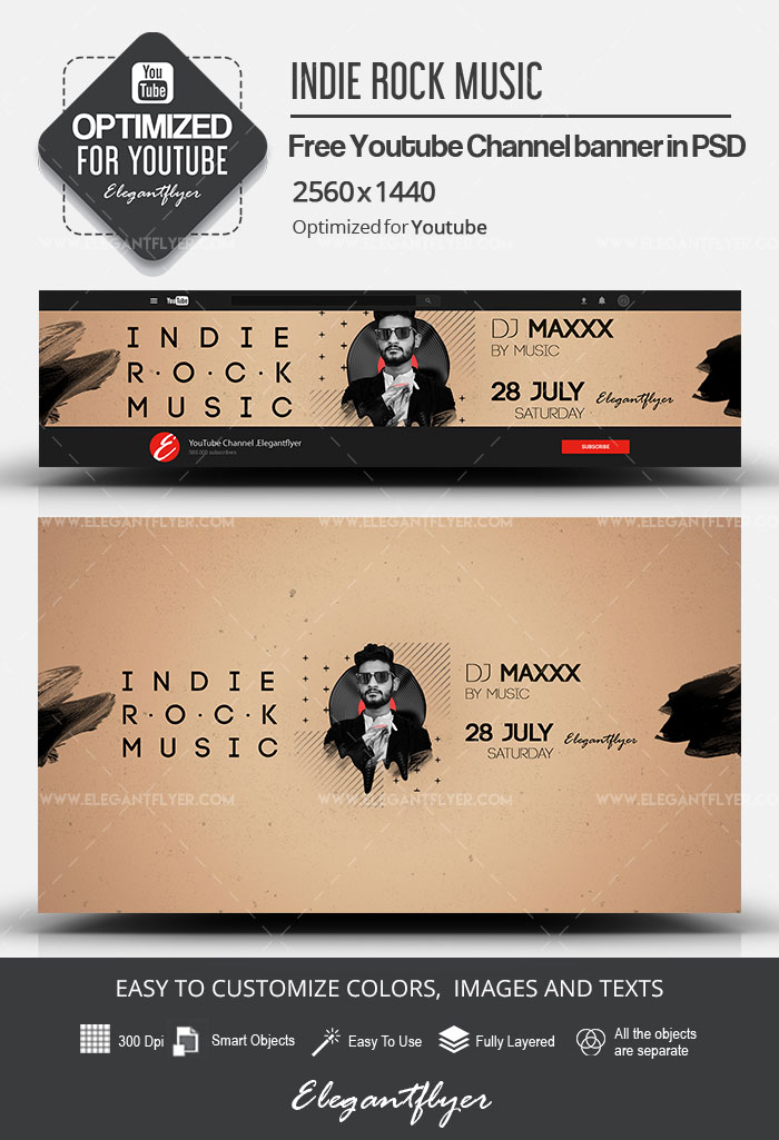 Indie Rock Music – Free Youtube Channel banner PSD Template